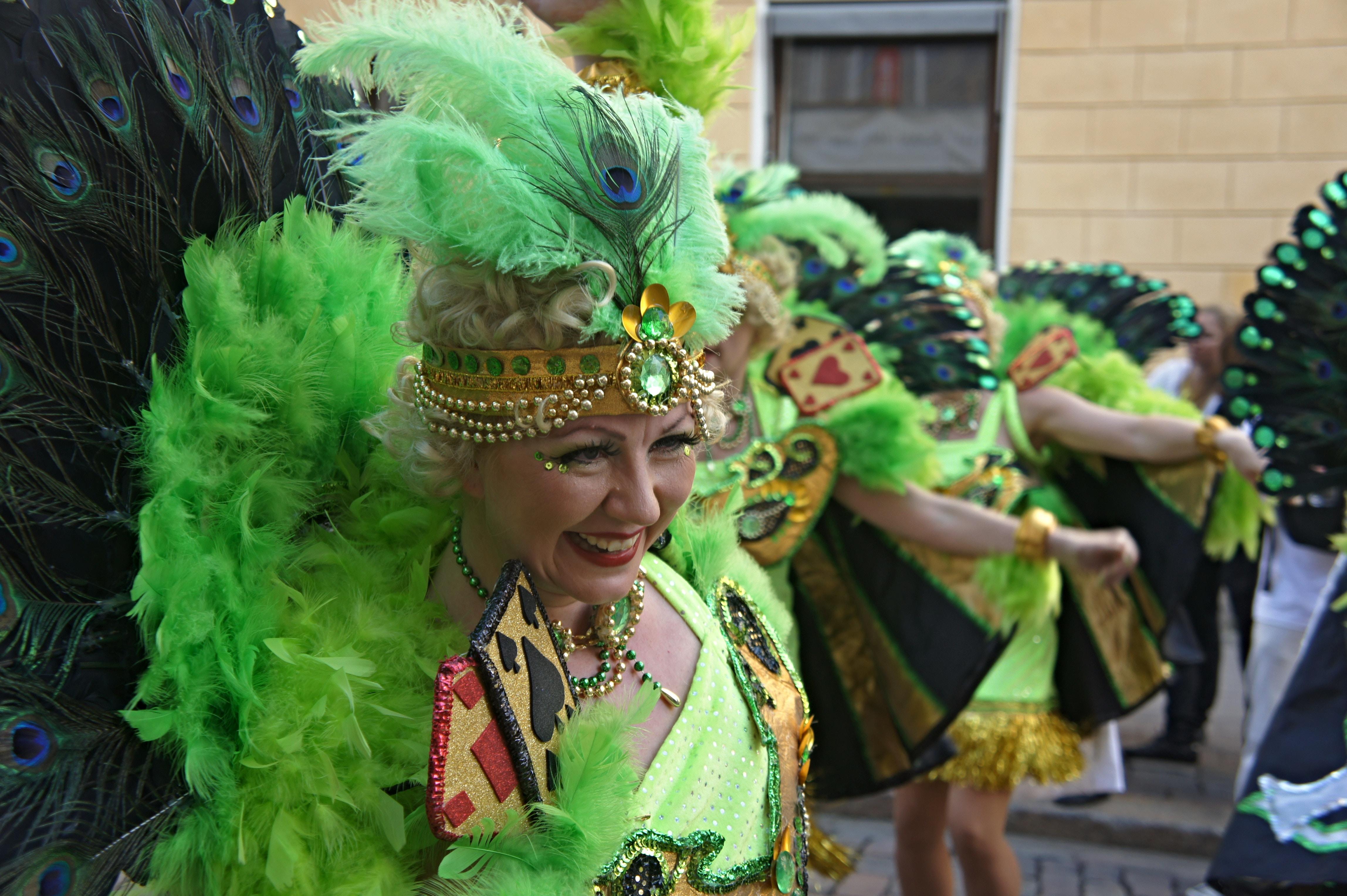 woman in green dress standing