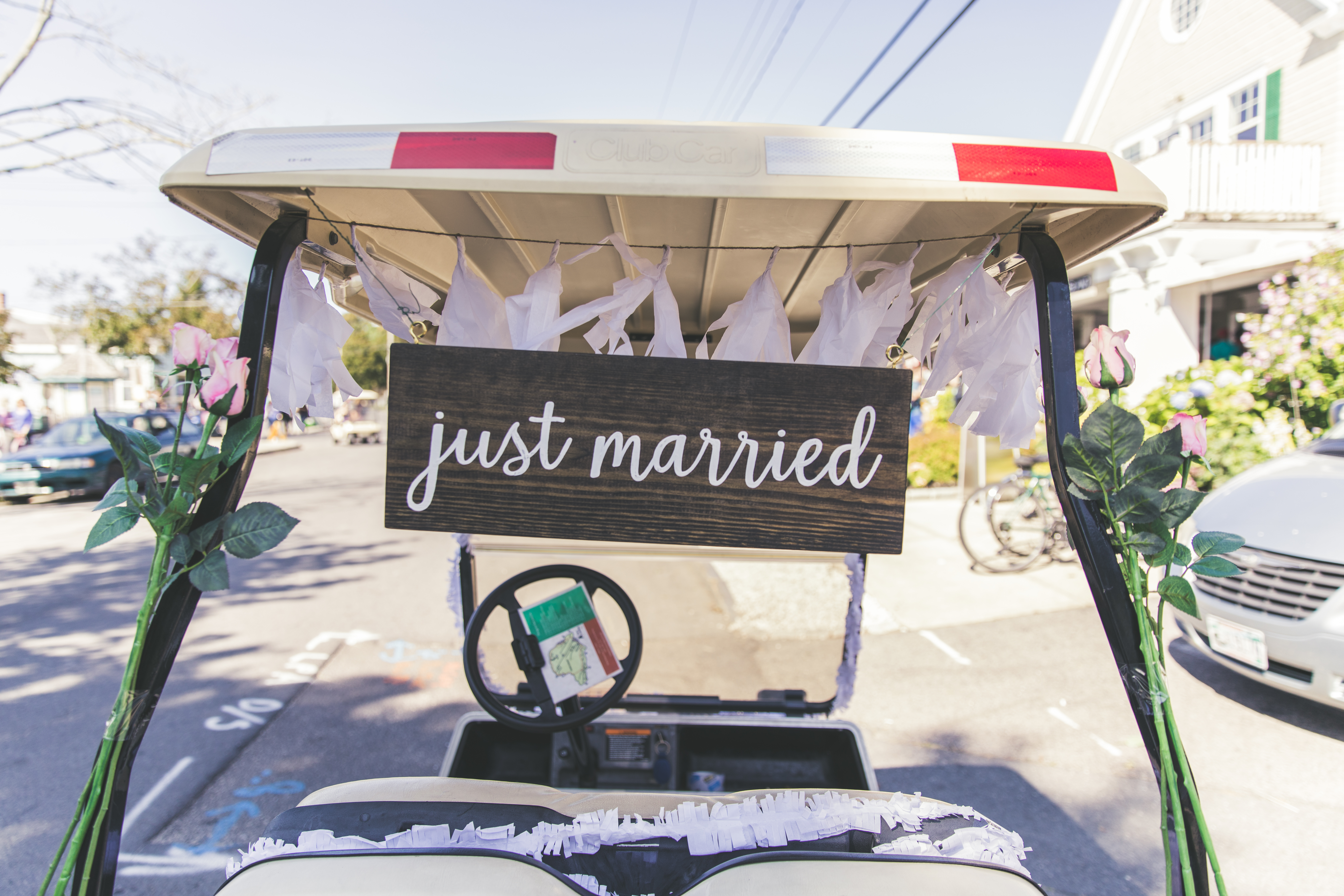 moving Just Married golf cart