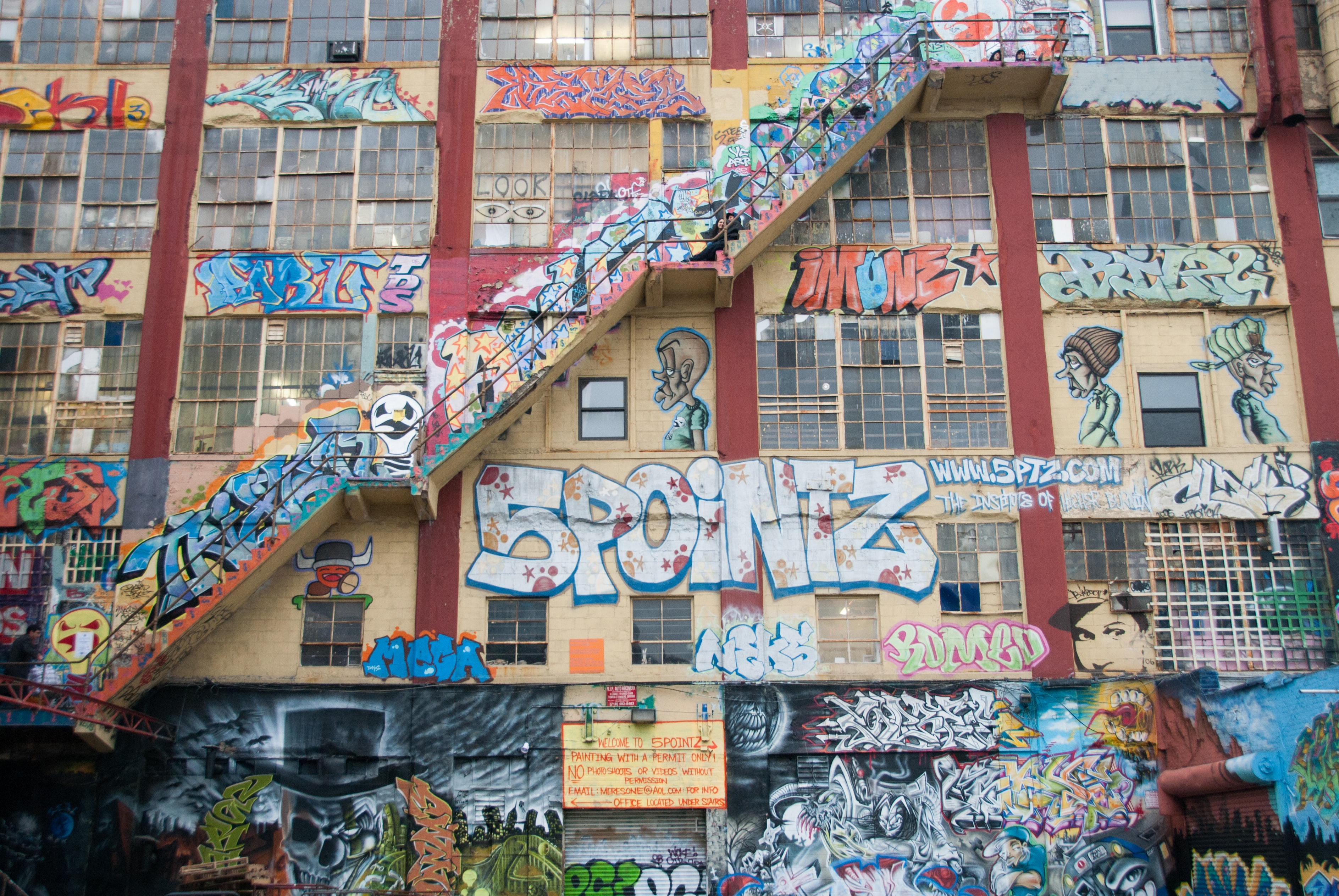 concrete structure filled with murals
