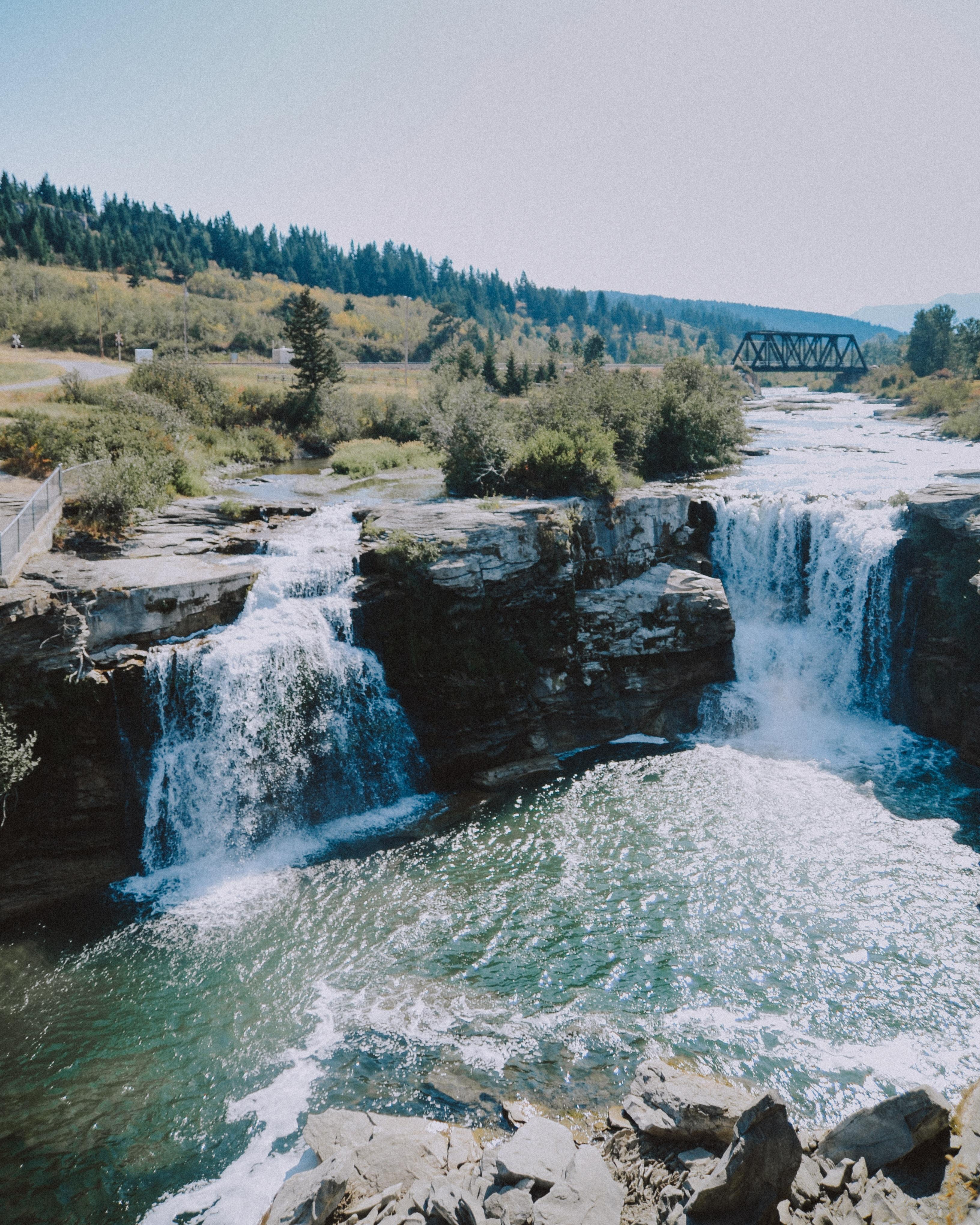 waterfalls on mountain