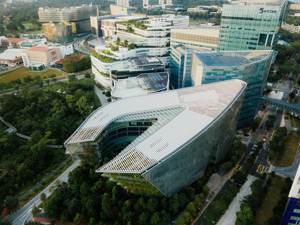gray architectural building aerial photography