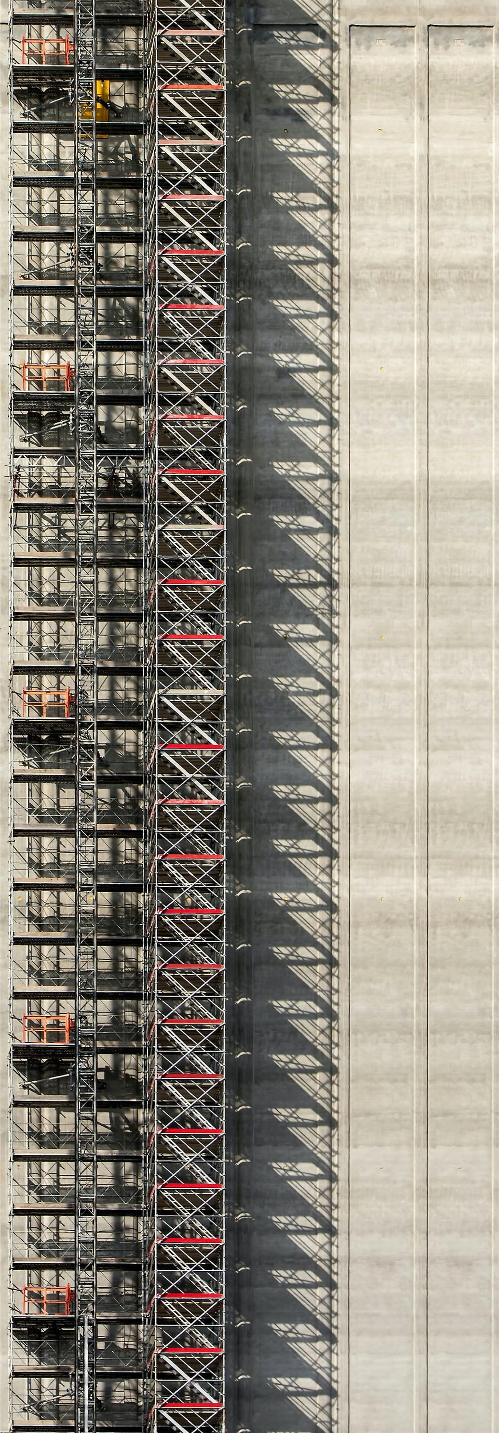 aerial photography of gray steel scaffolding