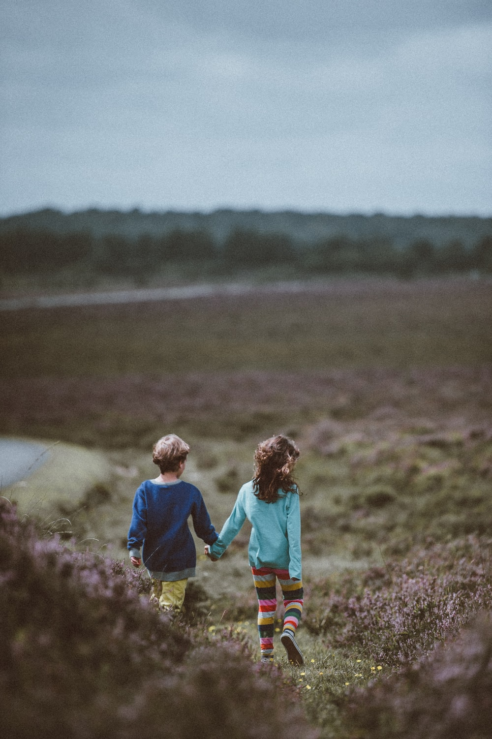children waling downhill
