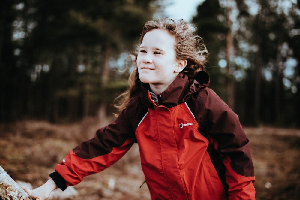 girl wearing windbreaker jacket