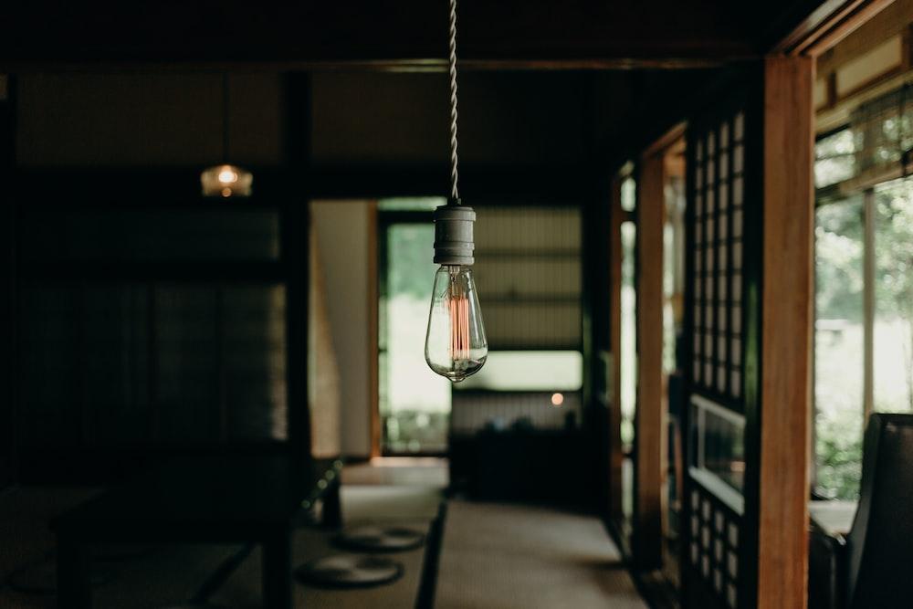clear glass light bulb turned off