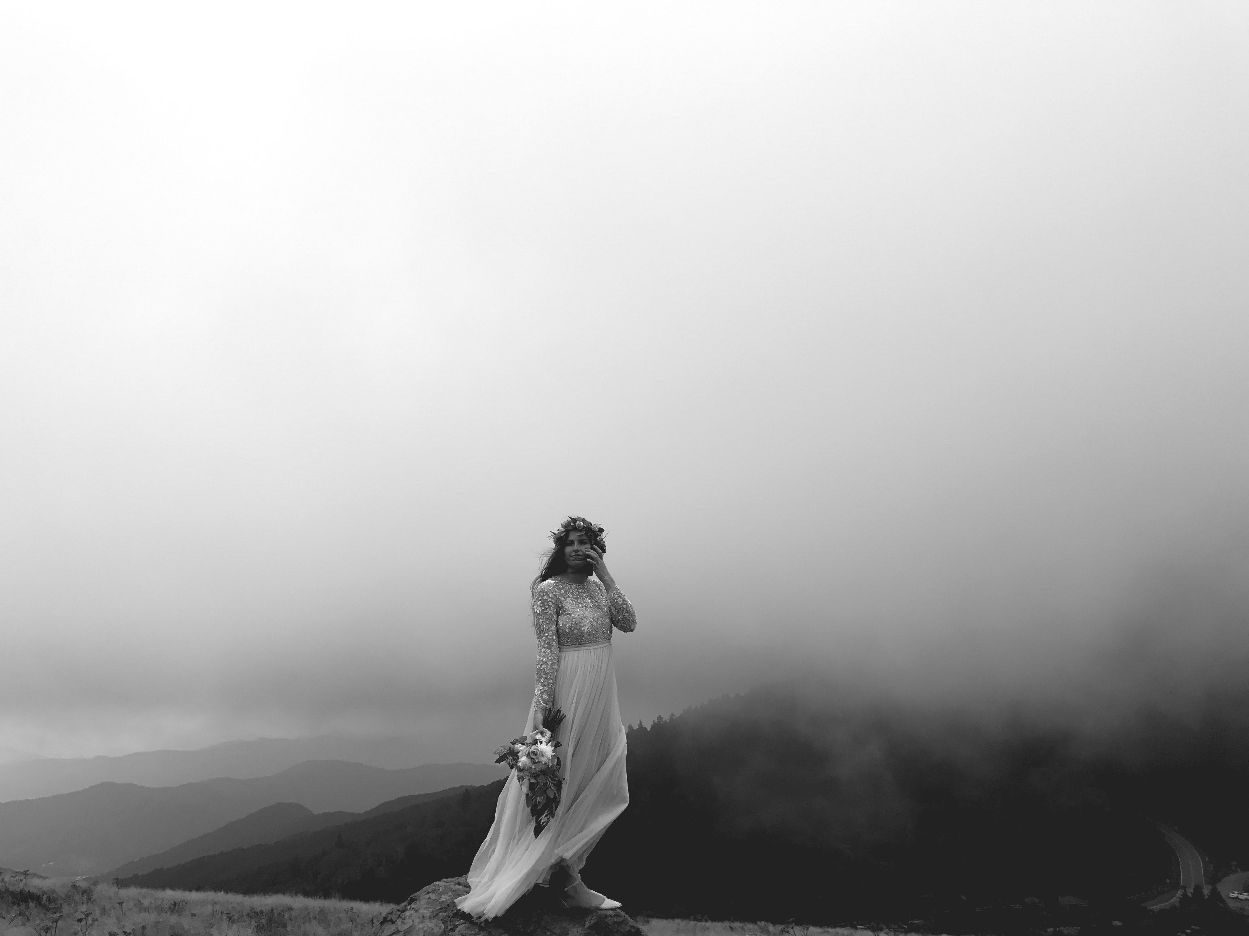 grayscale photo of person in maxi dress