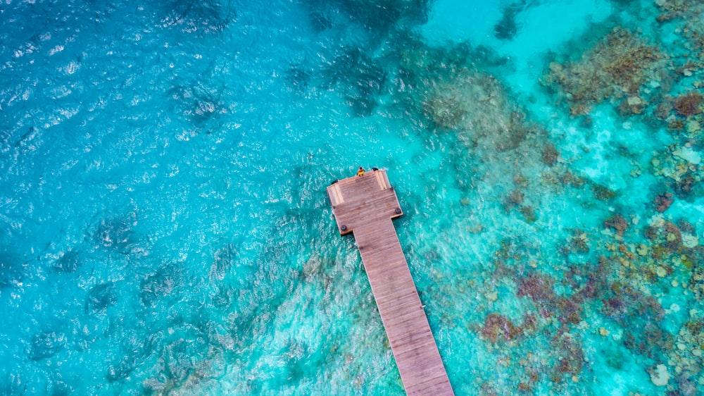 bird's eye photography of ocean dock