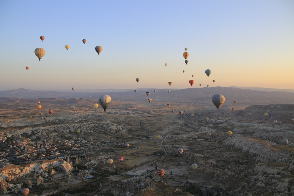 assorted-color hot air balloons on air