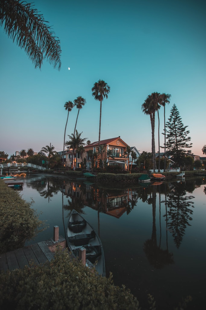 in distant brown 2-storey house surrounded by palm trees near body of water