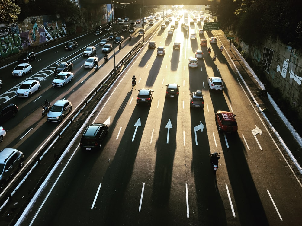 aerial photography of highway road