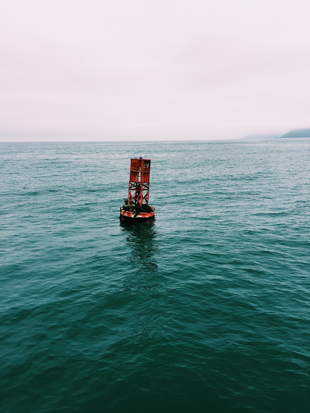 red buoy on body of water