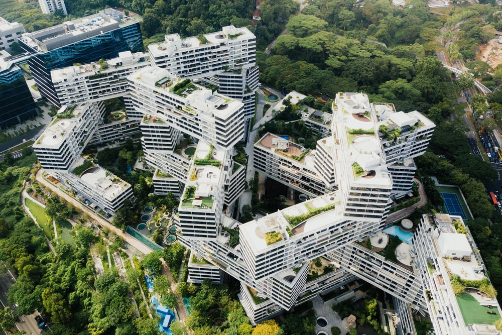 aerial photography of white architectural building