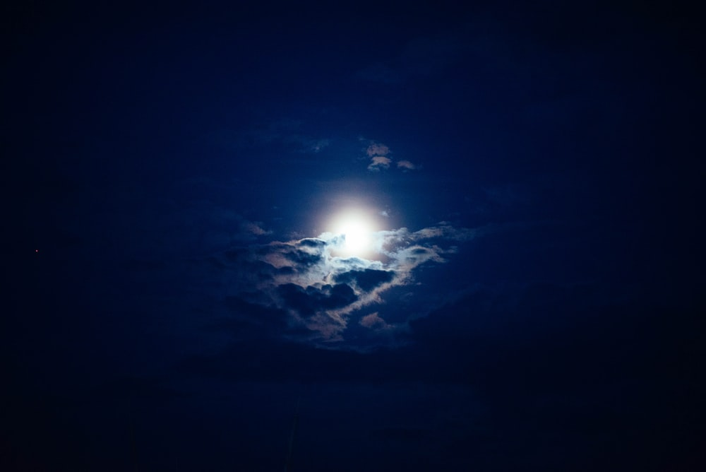 white moon covered of clouds