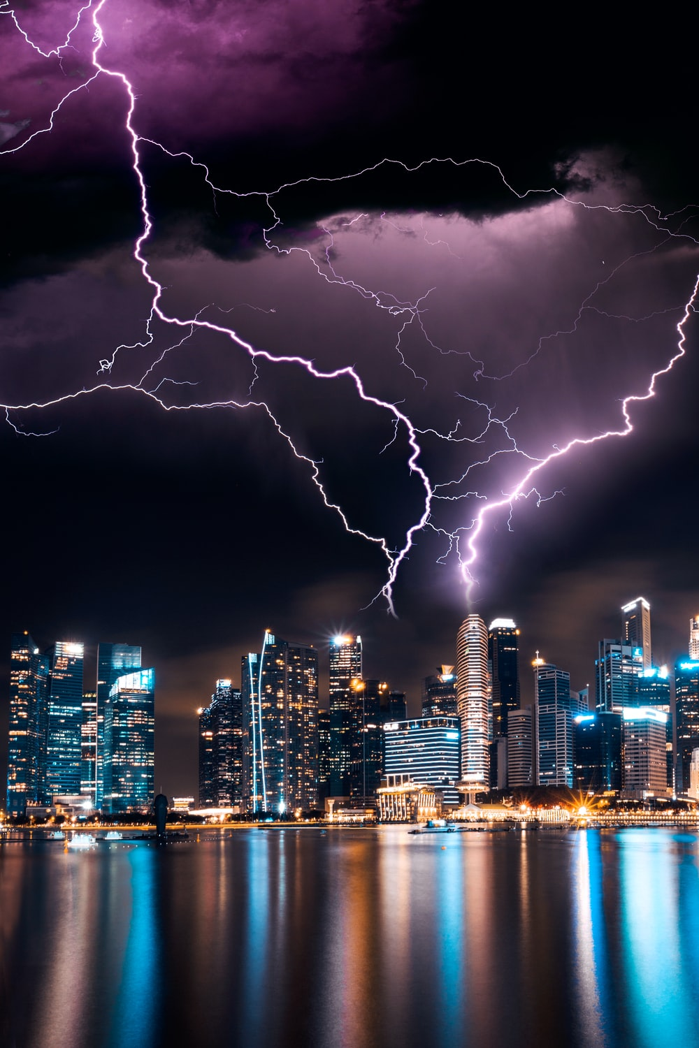 lightning storm over skyscrapers