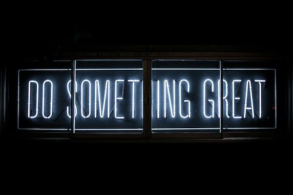 UKIE Hub Crawl 2021. Do Something Great neon sign