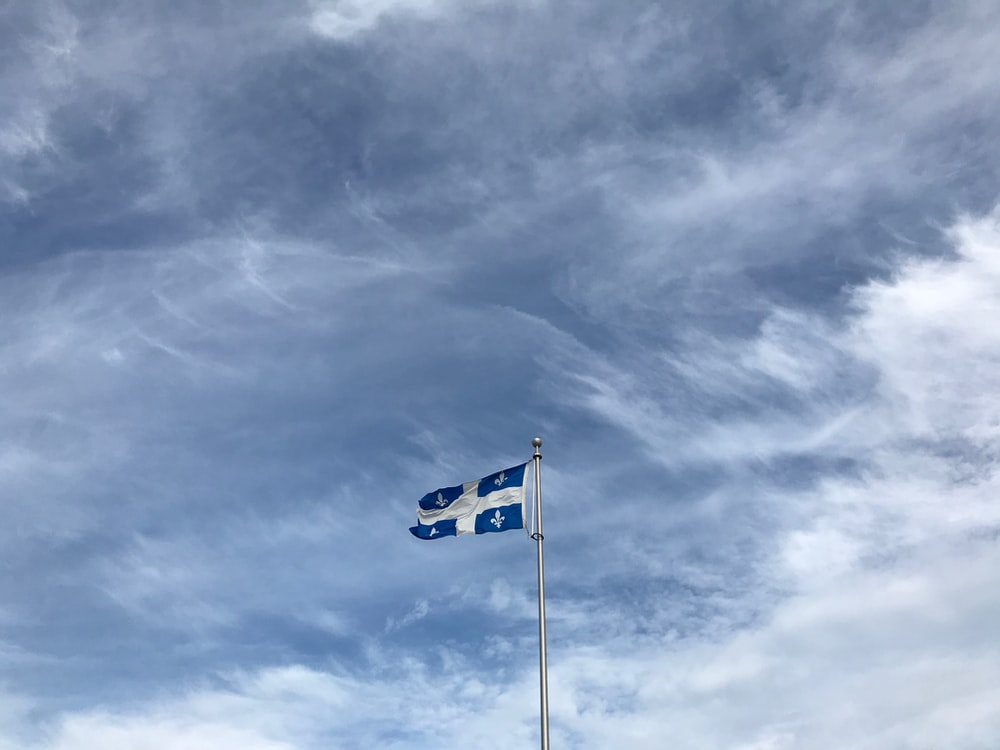 blue and white country flag