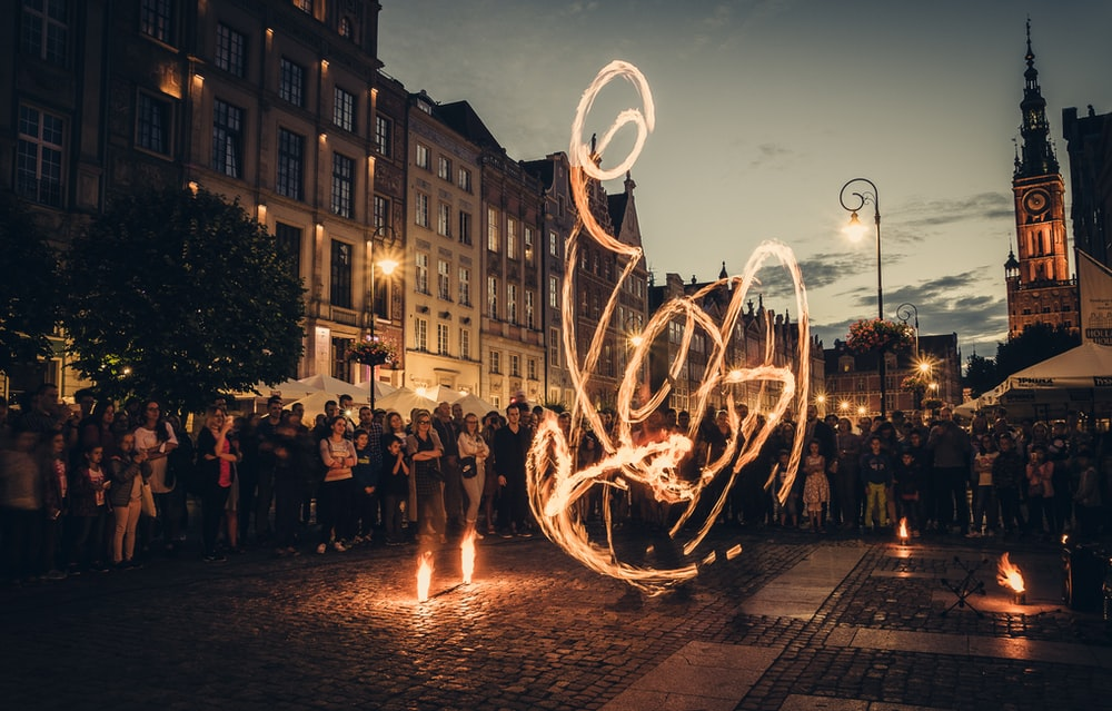 time-lapse photography of fire dancing