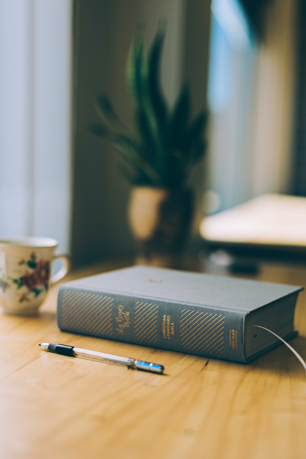 closeup photo of ballpoint pen and hardbound cover boon on table