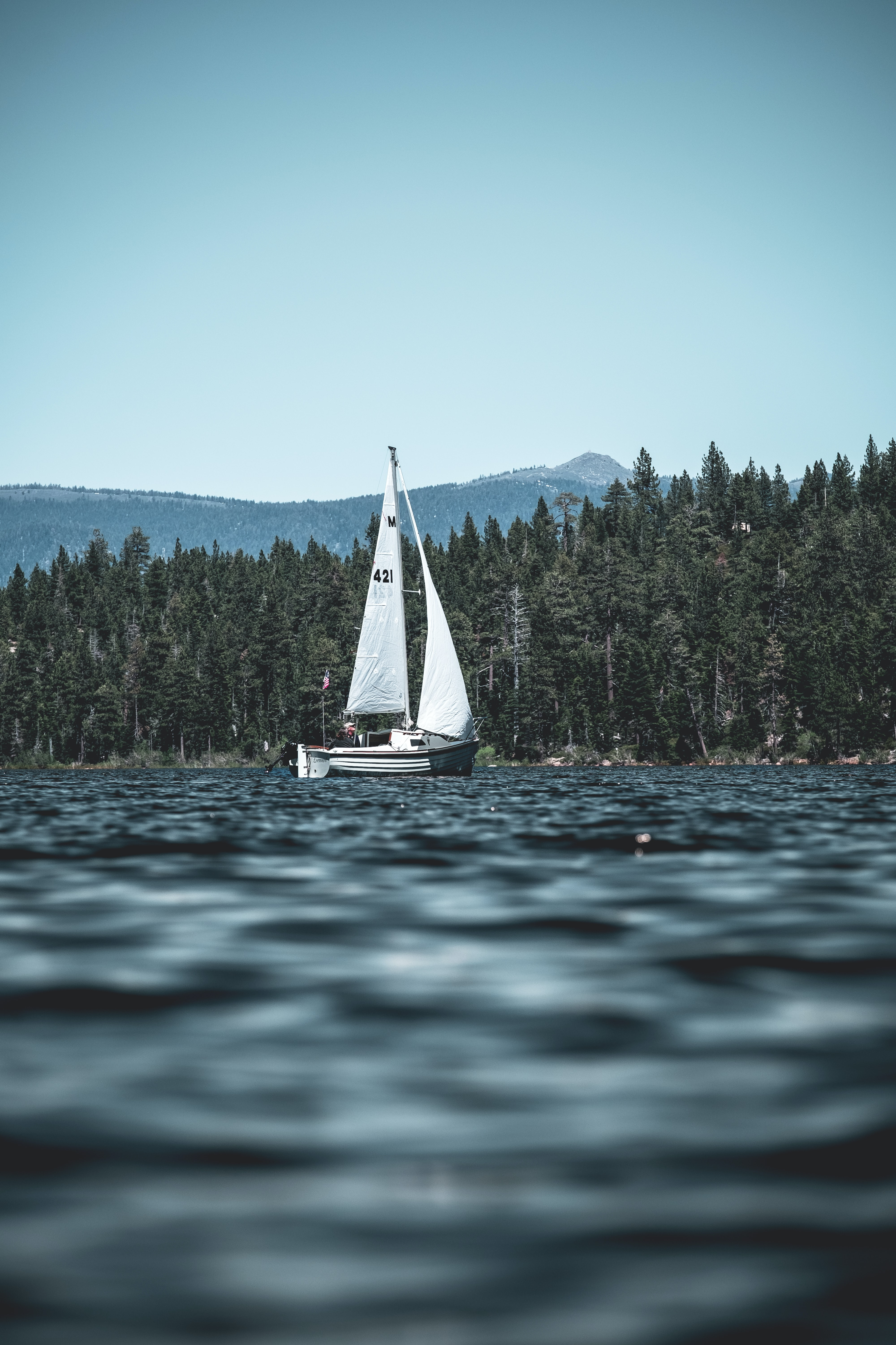 white and black sailboat on body of water near green high trees and mountain under blue sky at daytime