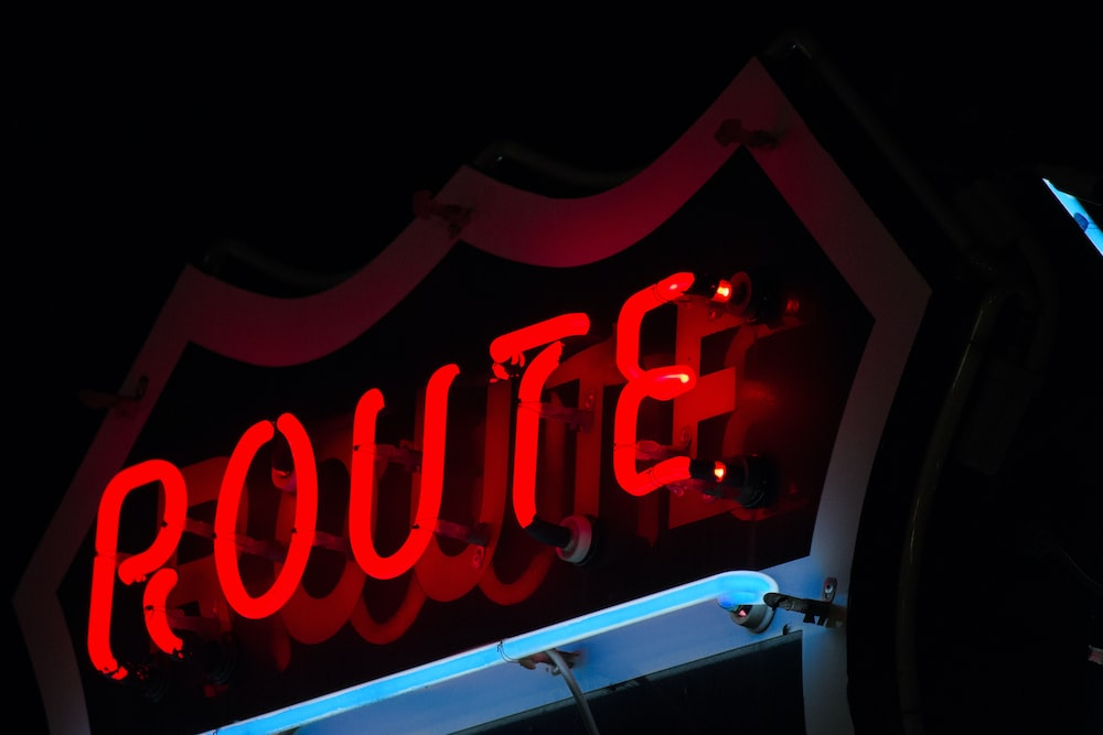 Route neon signage