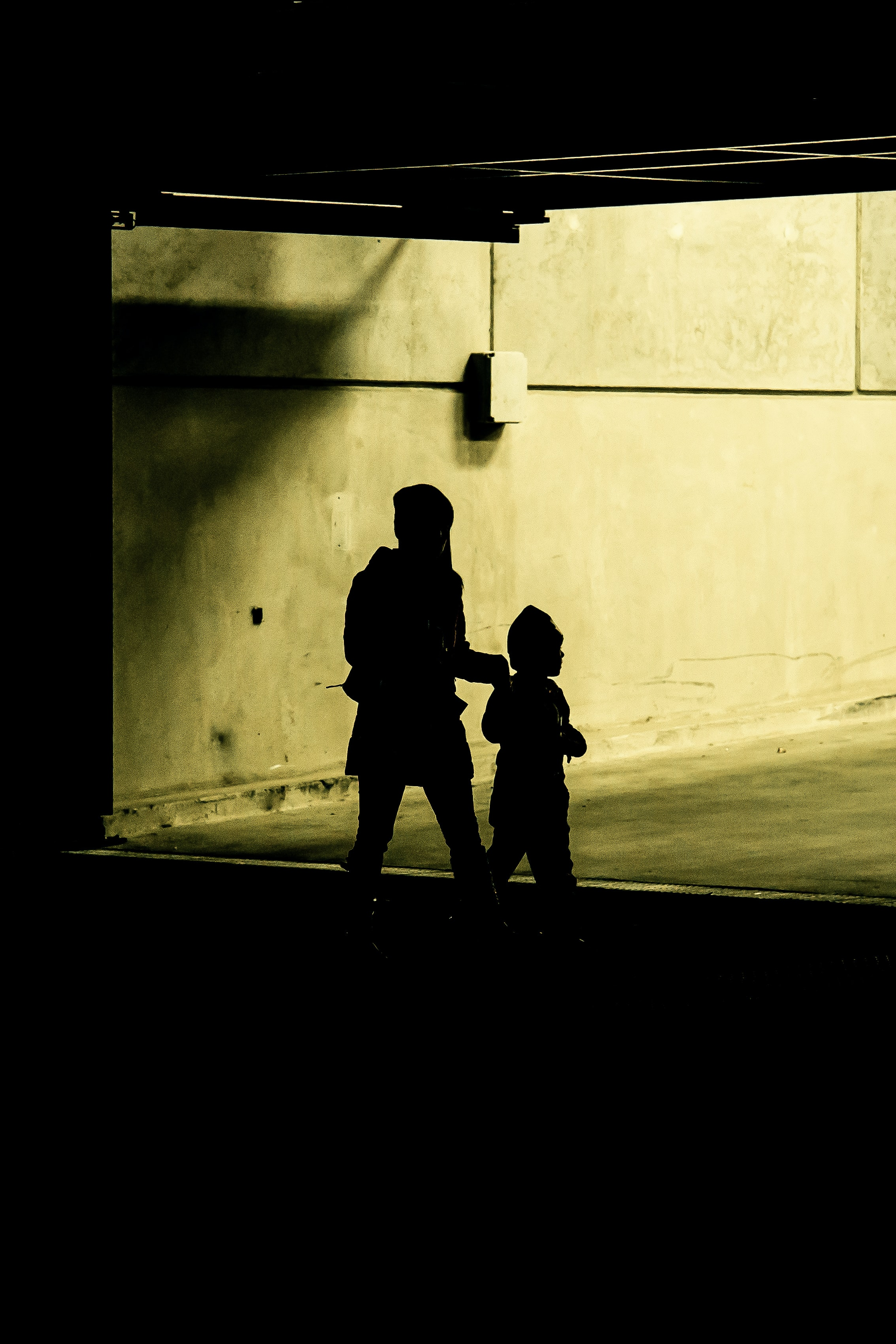 silhouette photo of woman and child inside building