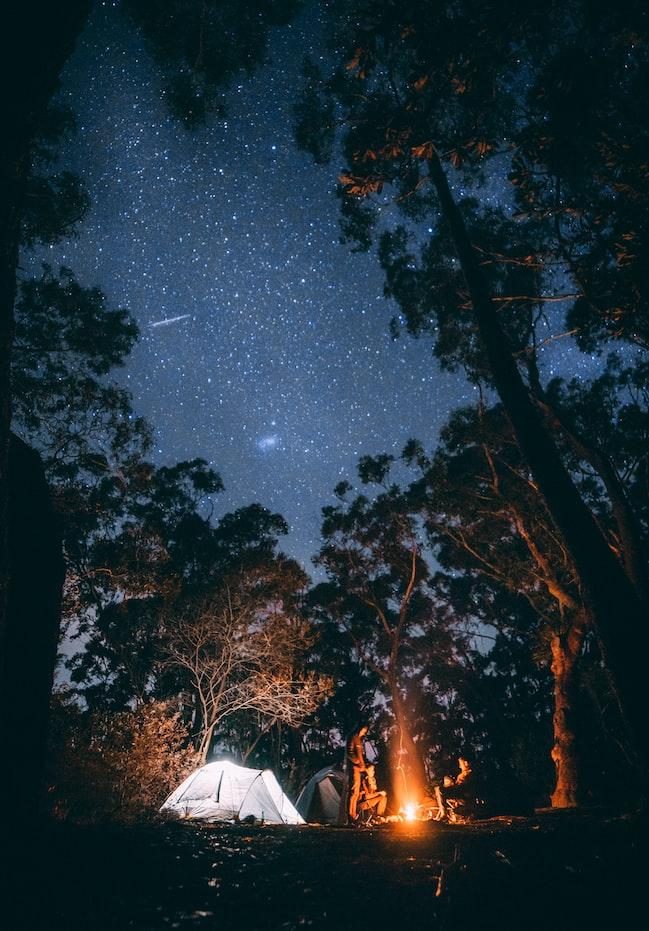 night camping bonfire