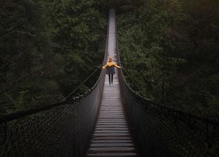 person walking on brown wooden bridge near green tall tress during daytime