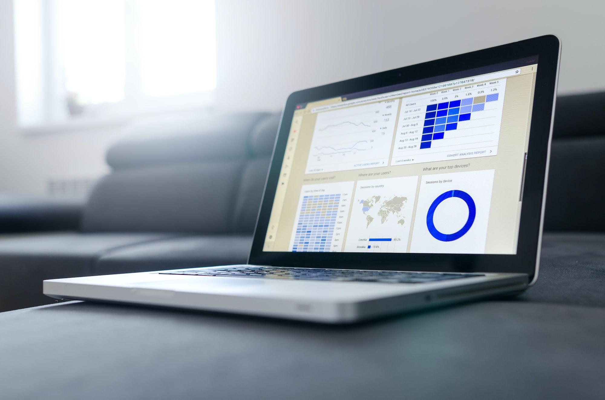 Notebook com tela exemplificando um painel inteligente, com diversos gráficos de formatos diferentes, todos com escalas em tons de azul.