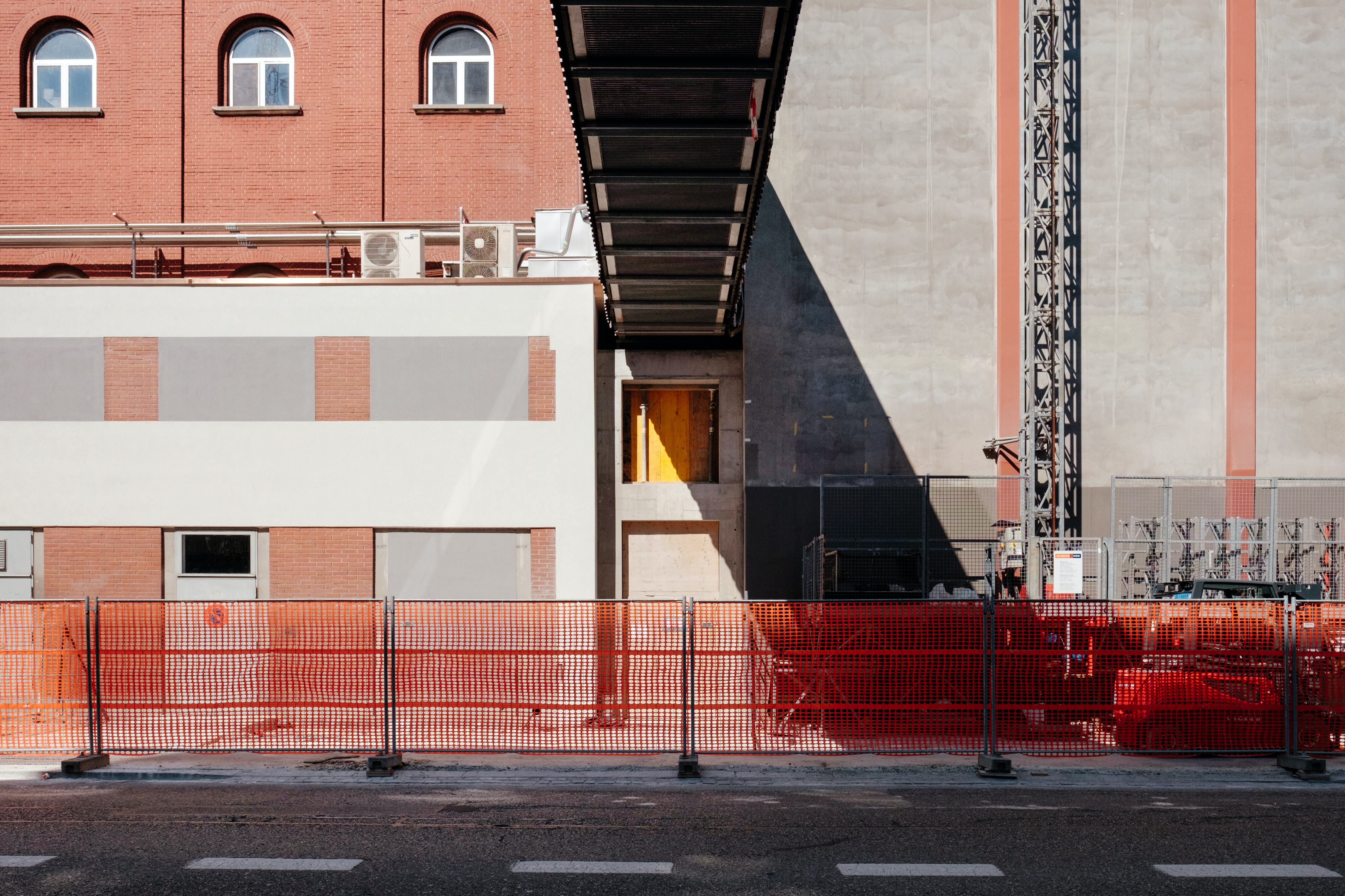 architectural photography of building with bridge