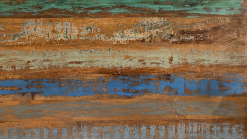 brown, blue, and green abstract painting