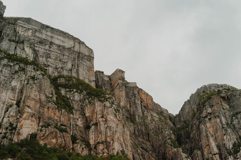 low-angle view photo of mountain