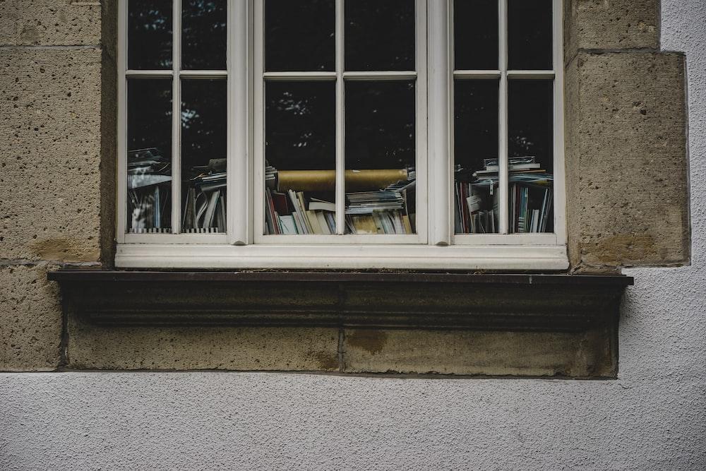 books seen throw windows