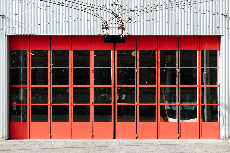 closed red framed door