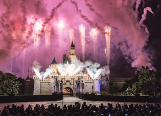 gray castle with fireworks during night time photography