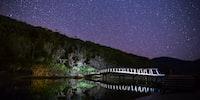 brown wooden arc bridge with white lights under stary skies