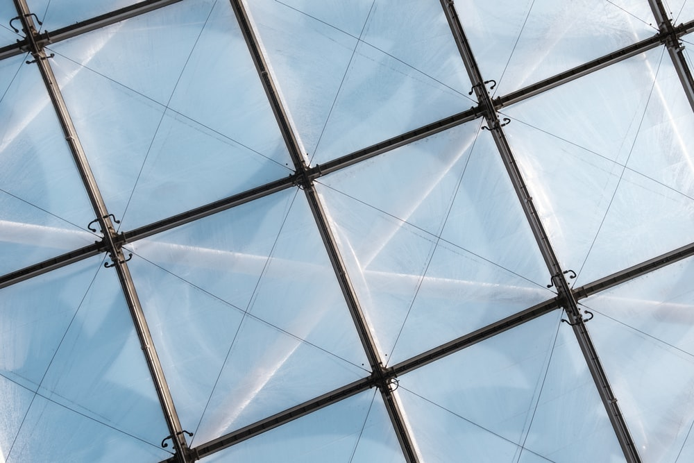 white and gray glass ceiling