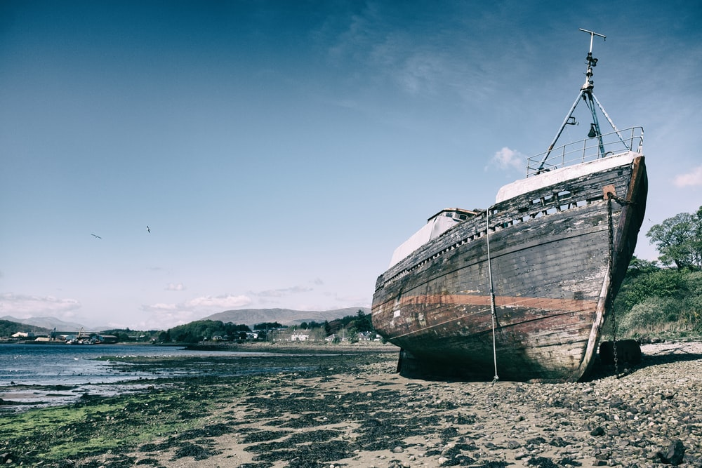 brown ship docked on seasore
