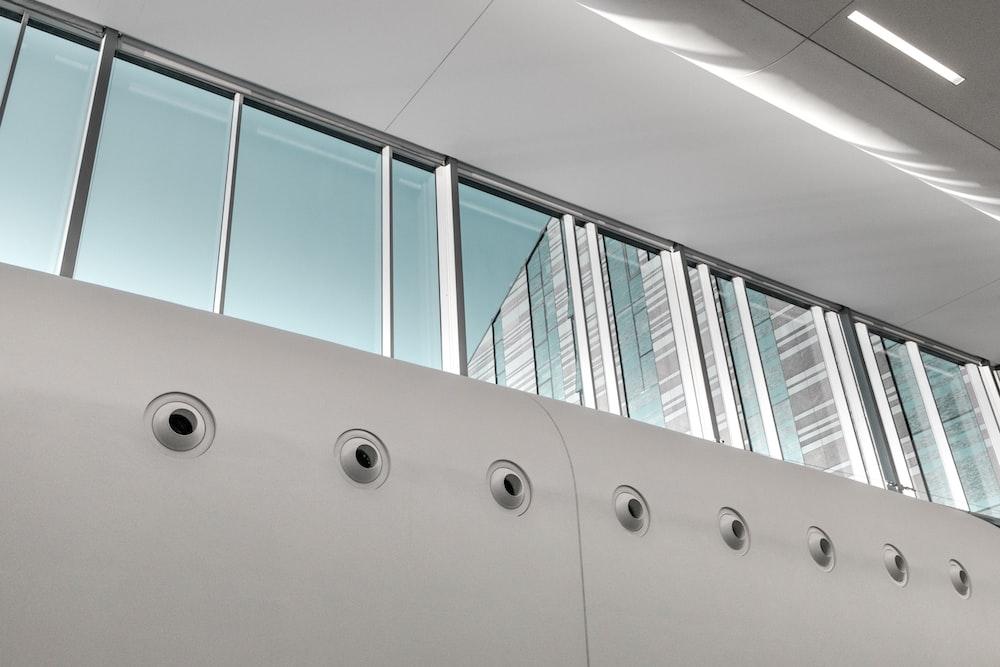 gray steel framed windowpane