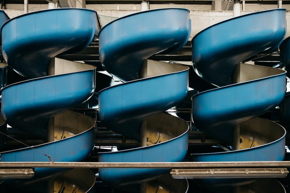 three blue slides