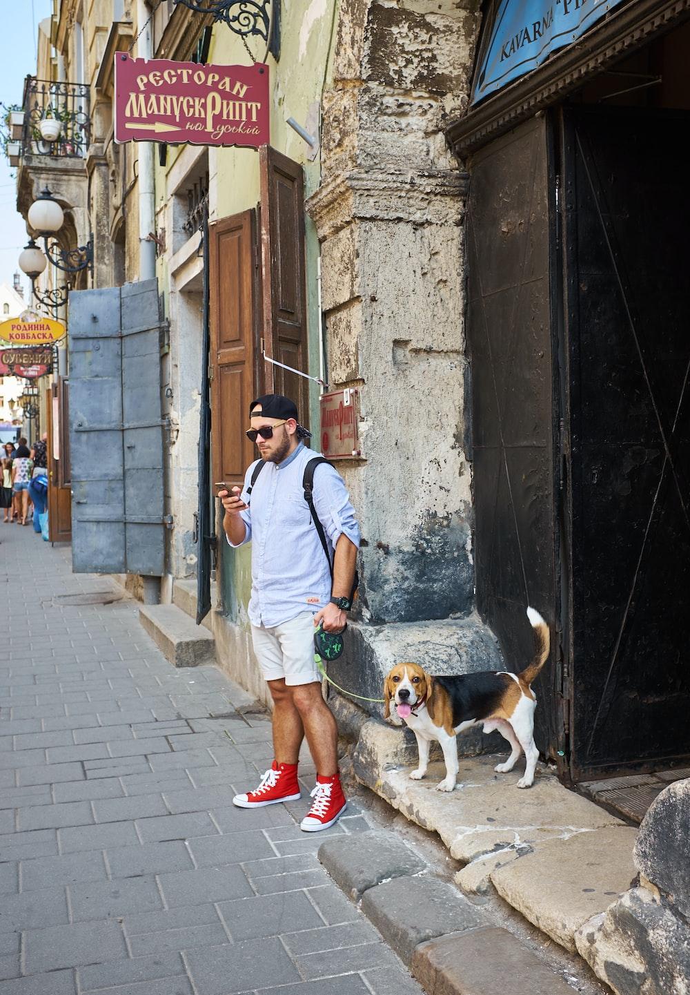 man beside beagle near building structure