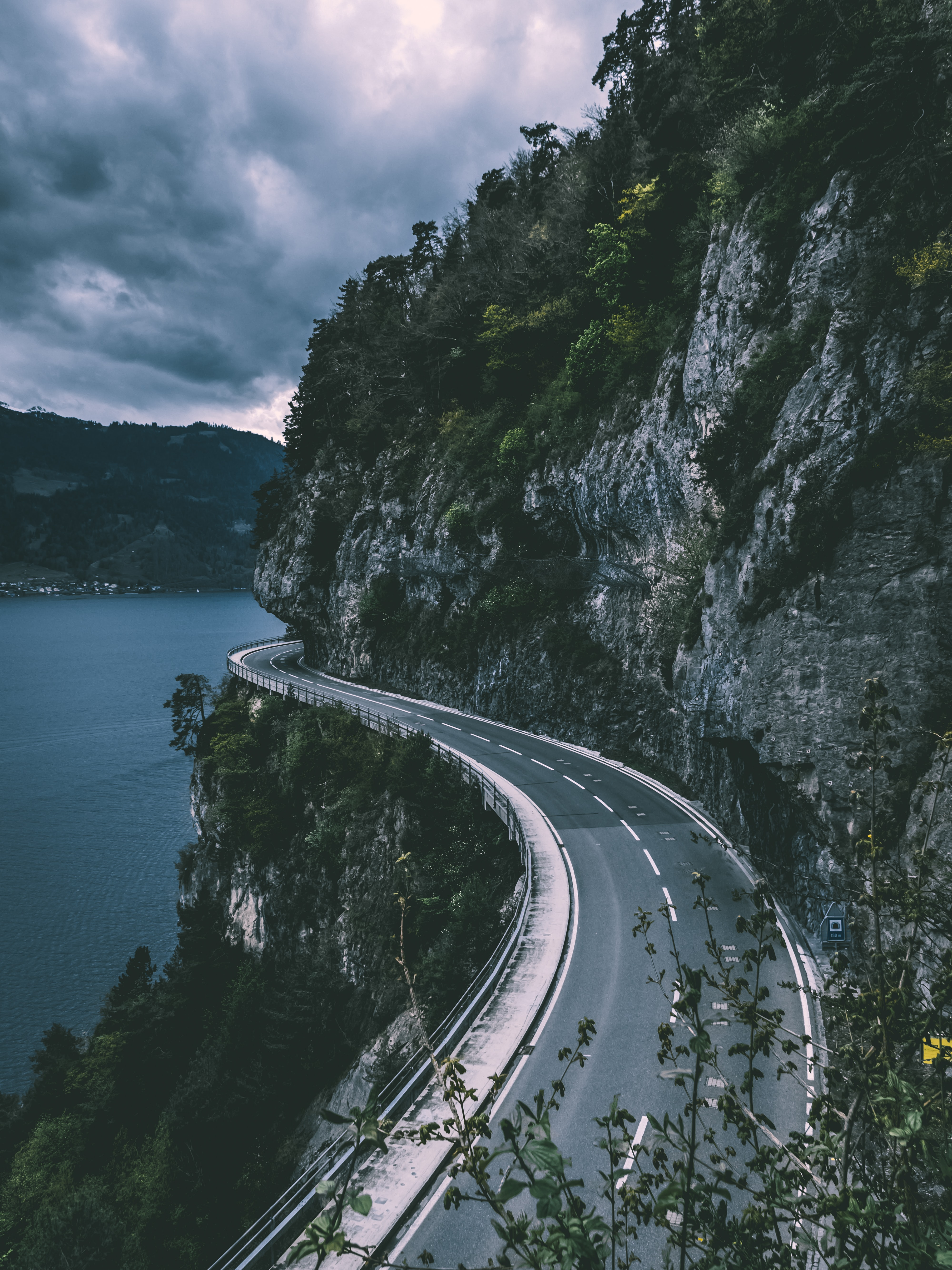 road beside cliff