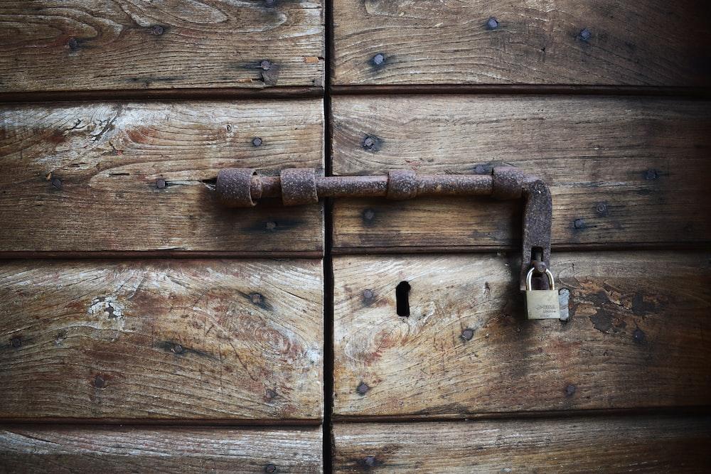 locked brown wooden door