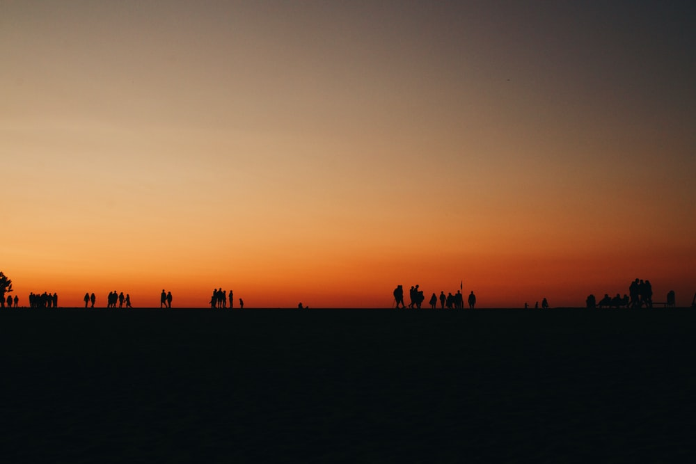 silhouette of people standing across sunset
