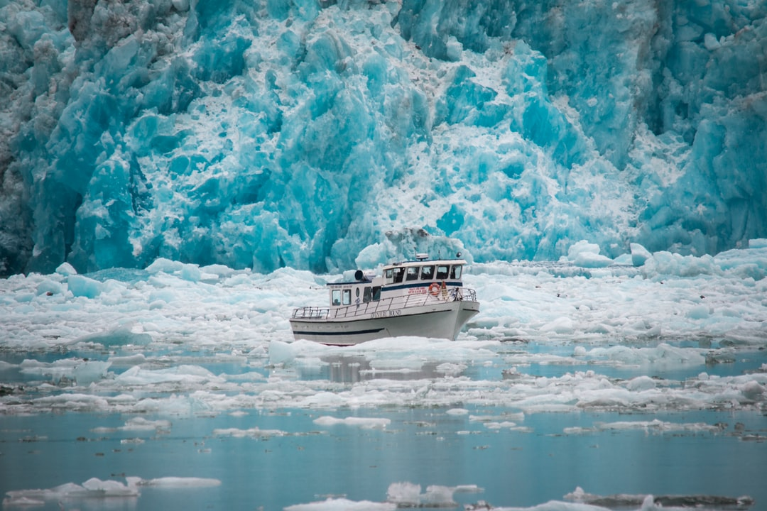 In the Tracy arm fyord system outside of Juneau Alaska, this tour boat appears stuck in all the calving glacier ice coming off of the south sawer glacier
