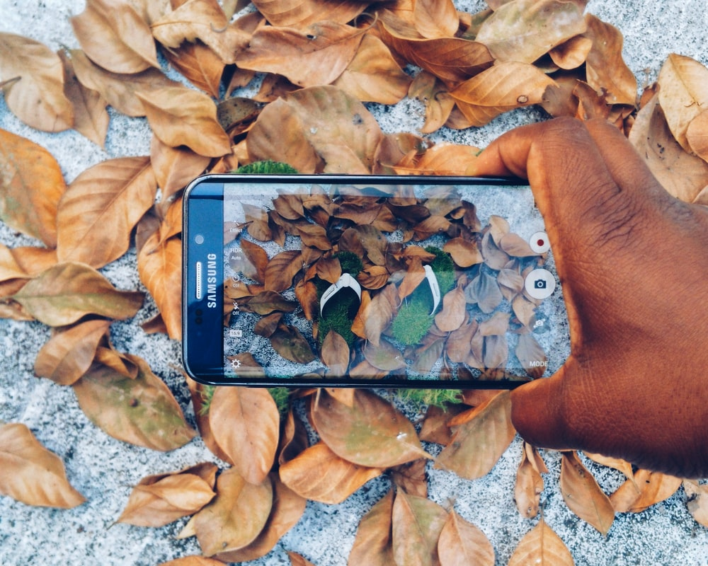 black Samsung Galaxy smartphone taking photo of green flip flops with dried leaves
