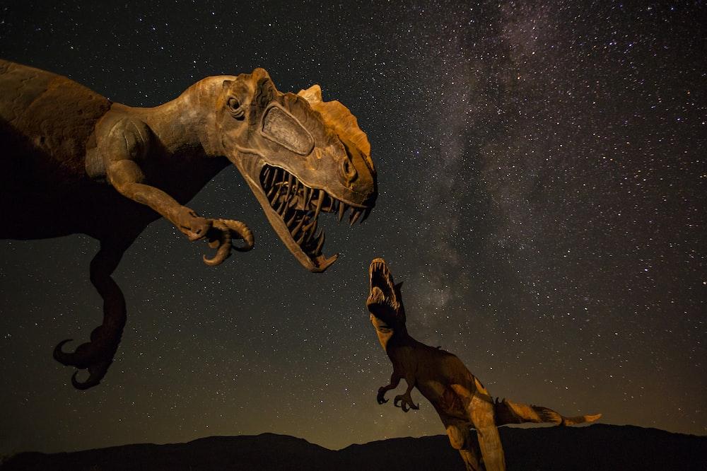 two T-Rex dinosaurs illustration