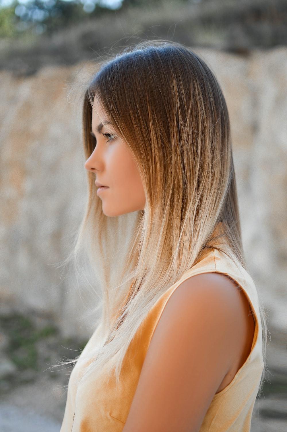 women's brown sleeveless shirt