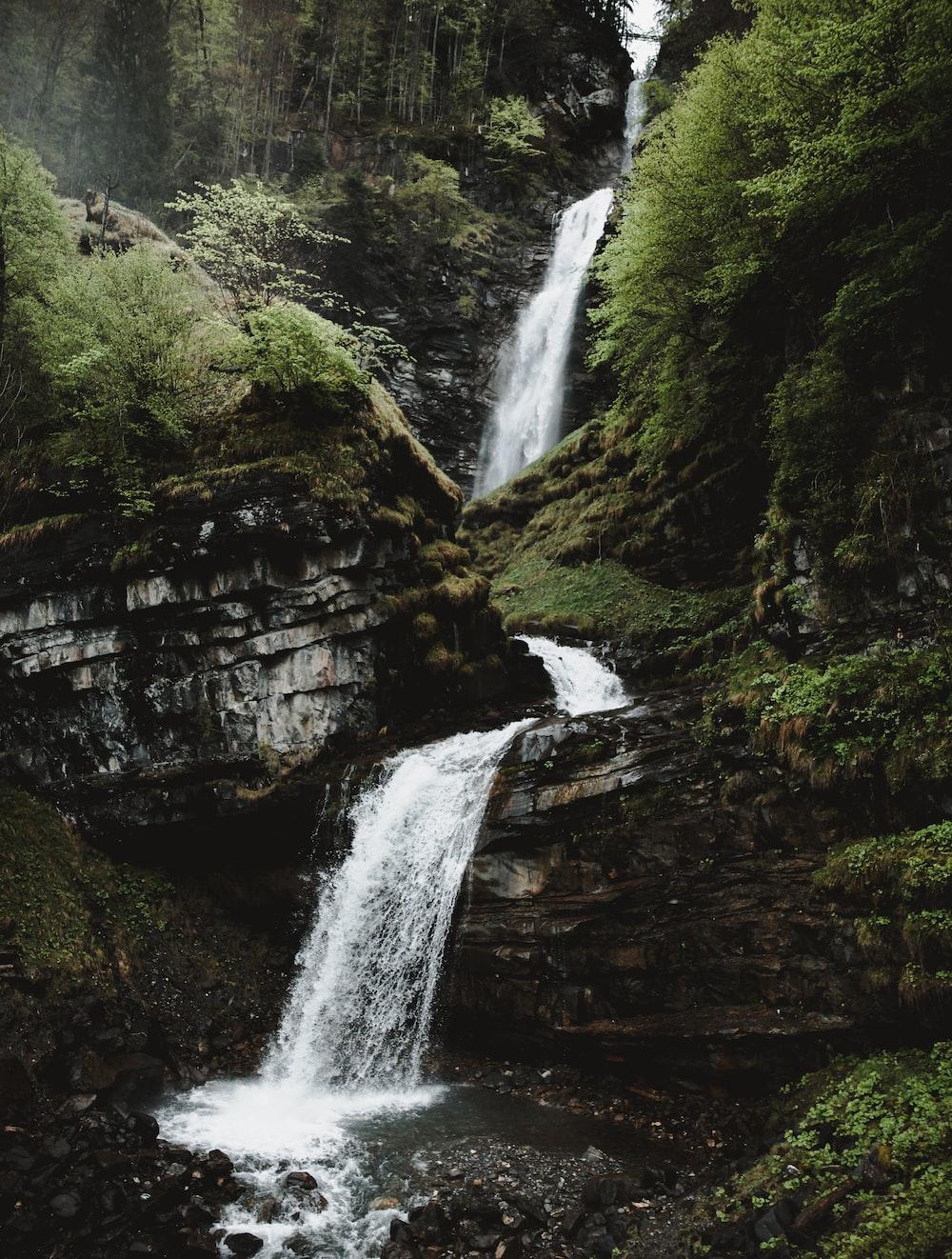 3-layer waterfall taken at daytime
