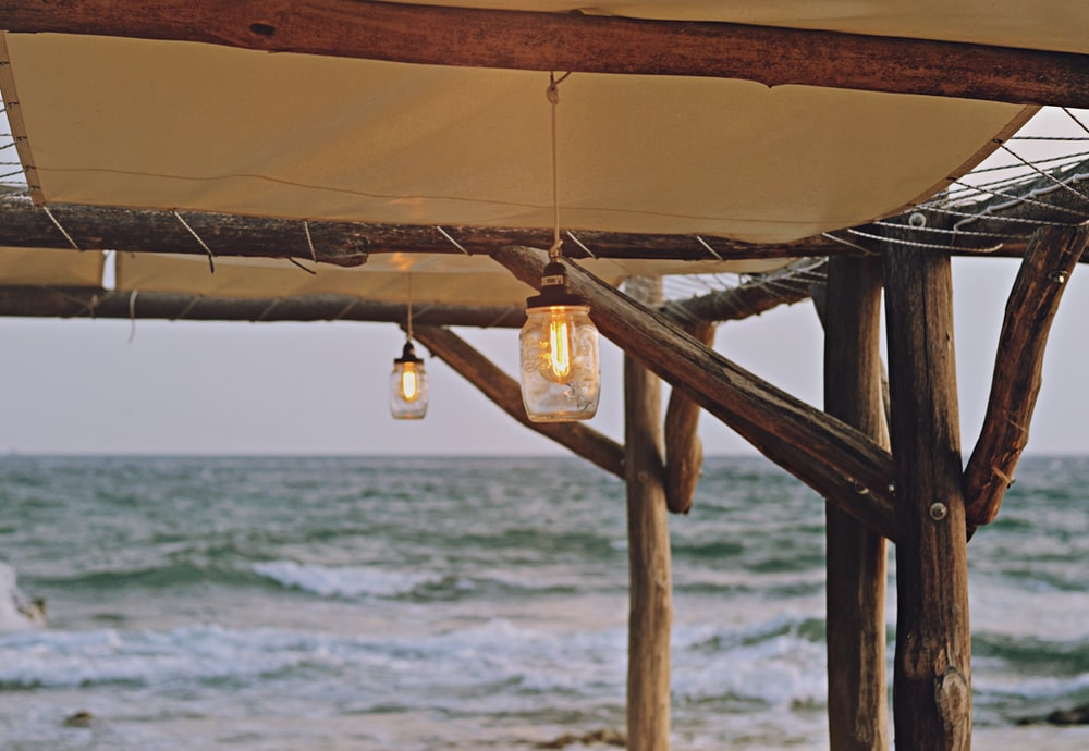 gazebo with hanging lamp