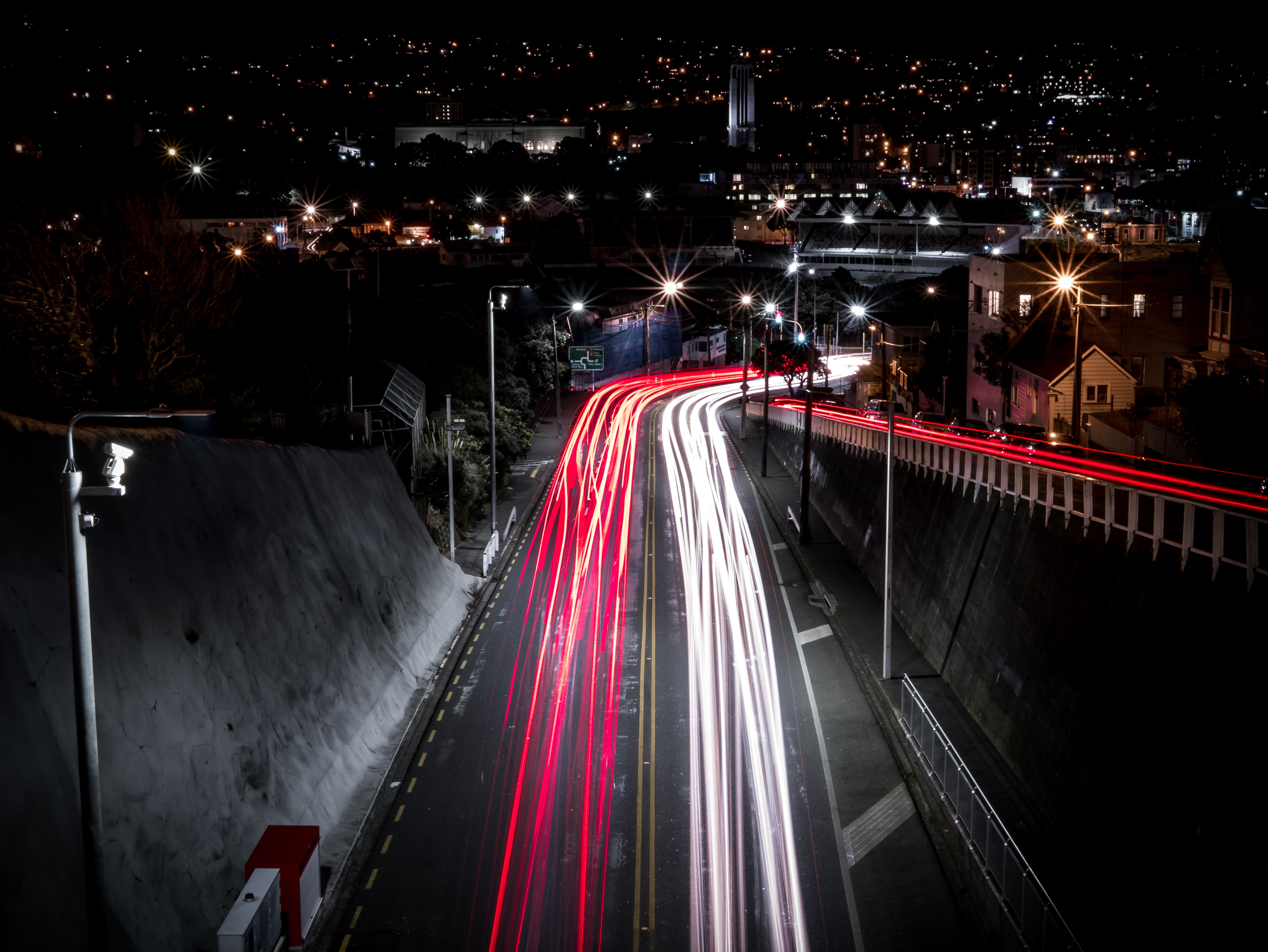 timelapse photography of vehicle taillights during night time
